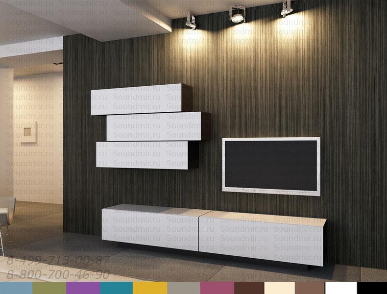 Стенка MD Color композиция №3 - белый глянец в интерьере