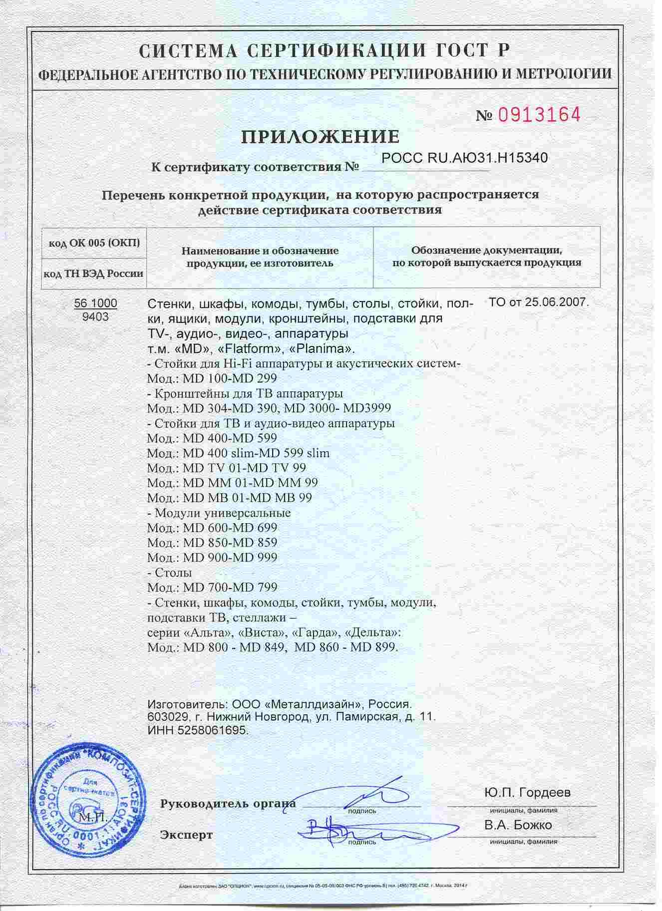 Тумба вдоль стены приложение к сертификату